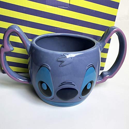 Taza de café con diseño de dibujos animados en 3D con texto 'Coffee Cup Breakfast Milk Stitch con doble mango de cerámica