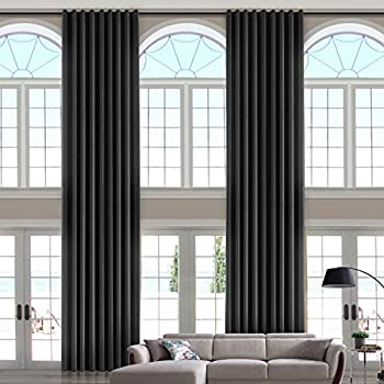 ChadMade 106 Wide x 144 Long Inches Velvet Curtain Panel Grommet Top Extra Long Drape High Ceiling Drapery for Loft Living Room Home Movie Theater Stage Auditorium Black  1 Panel