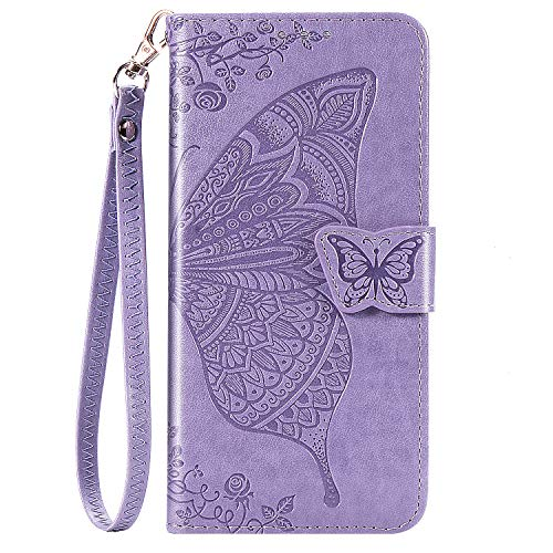 Galaxy A20 Wallet Case, Galaxy A30 Case, [Butterfly & Flower Embossed] Premium PU Leather Wallet Flip Protective Phone Case Cover with Card Slots and Stand for Samsung Galaxy A20/A30 (Lavender)