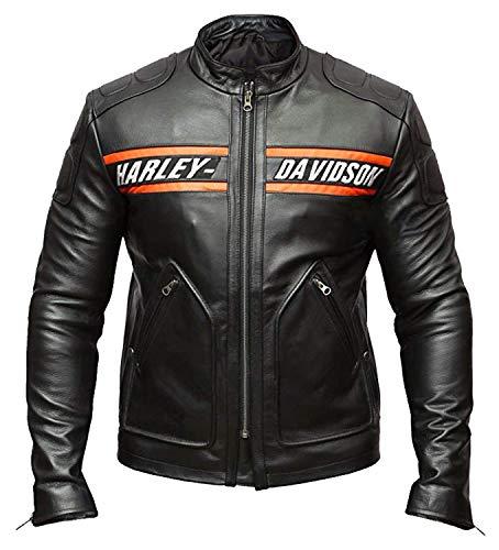 Dunhill Leather Giacca Uomo Bill Goldberg Stile Motociclista Pelle Giacca Nero-XL