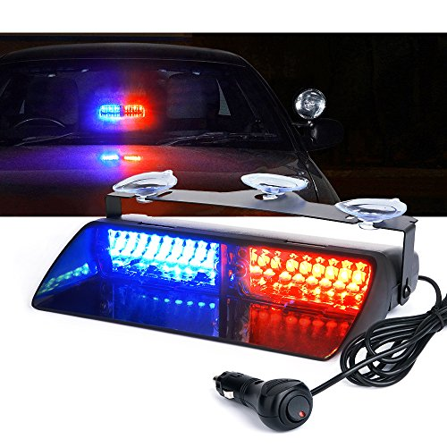 Xprite 16 LED High Intensity Red Blue Windshield Dash Emergency Strobe Lights w/Suction Cups for Police Law Enforcement Vehicles Truck Interior Roof Hazard Warning Flash Light(Others Color Available)