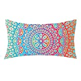 NIDITW Mothes with European Style Colorful Boho Bohemian Pattern Indian Mandala Waist Lumbar Cotton Linen Throw Pillow case Cushion Cover for Sofa Home Decorative Long Oblong 12x20 Inches