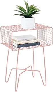 mDesign Modern Farmhouse Side/End Table - Metal Grid Design - Open Storage Shelf Basket, Hairpin Legs - Vintage, Rustic, Industrial Home Decor Accent Furniture for Living Room, Bedroom - Light Pink