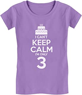 Birthday Cake - I Can't Keep Calm I'm 3 Cute Toddler/Kids Girls' Fitted T-Shirt