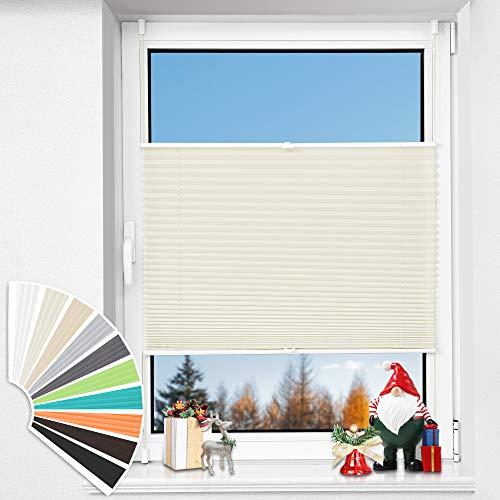 HOMEDEMO Plissee Klemmfix ohne Bohren, (105x110cm, Beige), Jalousie Plisseerollo Fensterrollo mit Klemmträger, Faltrollo Klemmrollo Sicht-und Sonnenschutz Rollos für Fenster & Tür