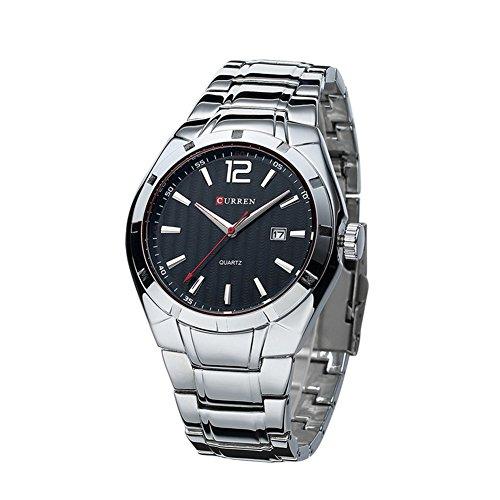 CURREN Relojes para Hombre Casual de dial Calendario llenos de Acero del Reloj Negro