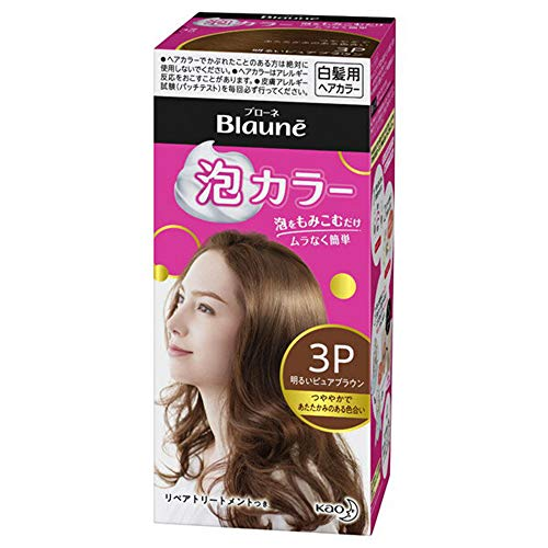 Kao Blaune Bubble Hair Color For Gray Hair - 3P Bright Pure Brown (Green Tea Set)