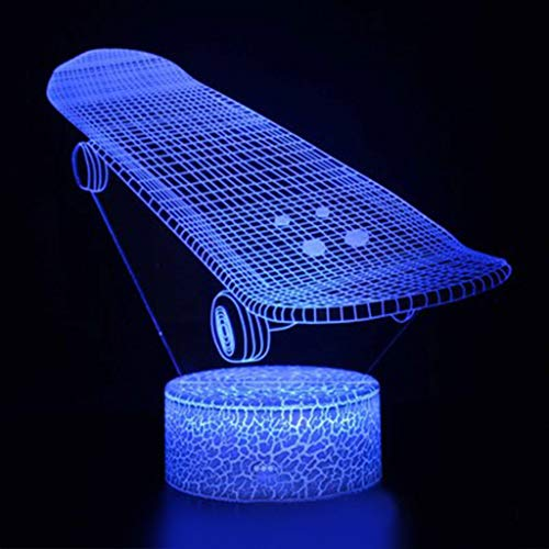 Nachtlicht 3D LED Lampe Nachtlichter 3D-Nachtlichter for Kinder Lichter Skateboard Modell Fernsteuerungsschalter Weihnachtsgeschenke Home Decor 7 Farbänderungen Geschenk