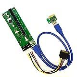 PCIe 4-Pin MOLEX PCI-E 16x to 1x Powered Riser Adapter Card w/ 60cm USB 3.0 Extension Cable & MOLEX to SATA Power Cable - GPU Riser Adapter - Ethereum Mining ETH