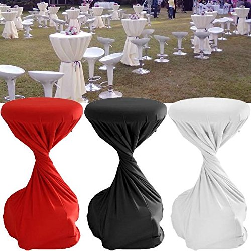 Bargain World 60x110cm Polyester Cocktail Table Round Elastic Cover Home Party Wedding Tablecloth Decoration
