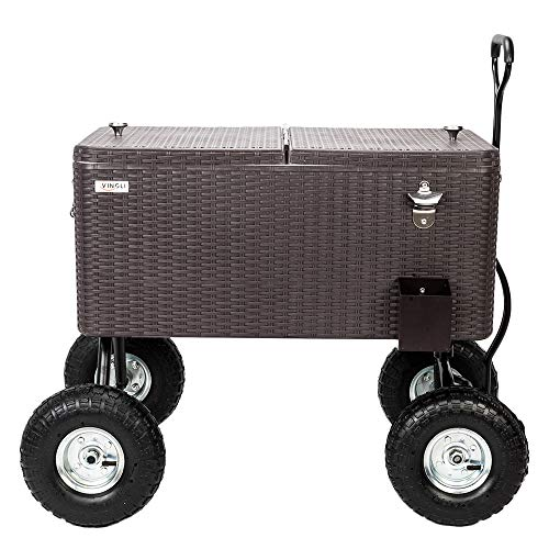 VINGLI 80 Quart Wagon Rolling Cooler Ice Chest, w/Long Handle and 10' Wheels, Portable Beach Patio...