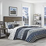 Eddie Bauer Home | Blue Creek Collection | 100% Cotton Light-Weight Quilt Bedspread Matching Shams, 3-Piece Bedding Set, Pre-Washed for Extra Comfort, Full/Queen, Navy