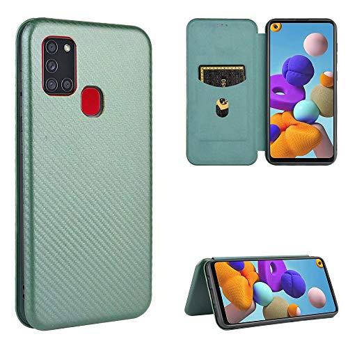 Miagon Galaxy A21S Brieftasche Hülle mit Kohlefaser Textur,PU Leder Schutzhülle mit Kartenfach Handyhülle Tasche Etui Folio Flip Cover Case Tasche für Samsung Galaxy A21S