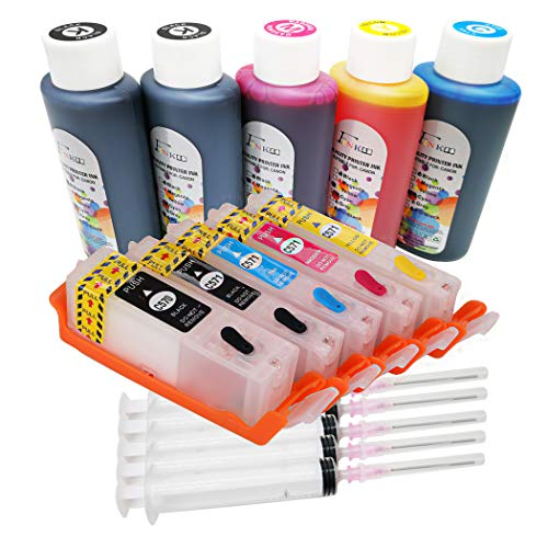5 flaconi di inchiostro da 100 ml e cartucce di inchiostro PGI-570 CLI-571 per stampanti Canon Pixma TS5050 TS5051 TS5052 TS5053 TS5055 TS6050 TS6051 TS6052 MG5750 MG5752 MG5753 MG6850 MG6851 MG6852