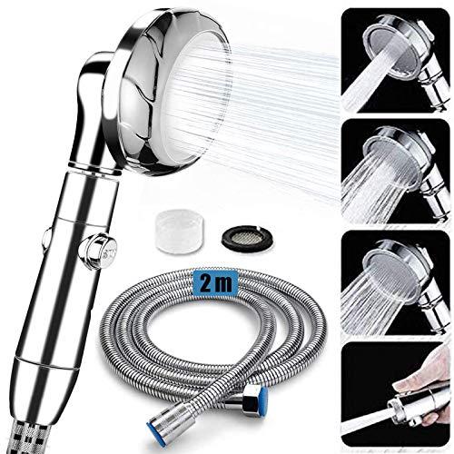 Premium Duschkopf mit Edelstahl Schlauch (2M), IAGORYUE Chrom Brausekopf Hochdruck Wassersparend Handbrause mit 3 Strahlarten, Abnehmbarer 360 ° Drehbarer Duschbrause