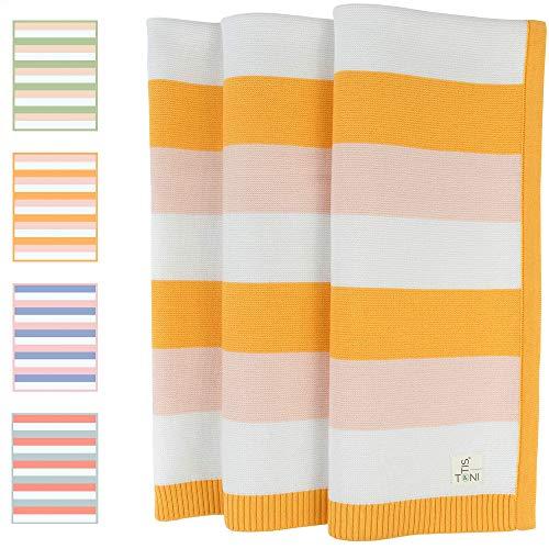 TONI&OTIS Babydecke aus 100% Bio Baumwolle in wunderschönen unisex Farben - Strickdecke ideal als Baby Decke, Kuscheldecke oder Erstlingsdecke - 80x100 cm (Apricot)