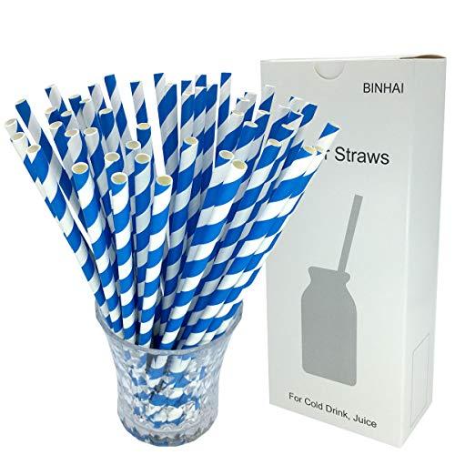 Binhai Blau Strohhalme, 100 Stück, mit recycelter Verpackung, biologisch abbaubar, große Trinkhalme, Dekoration für den Alltag, Hochzeit, Feier, DIY