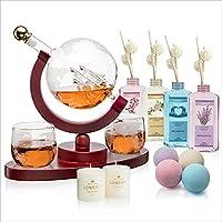 20-Piece Lovery Whiskey-Wine Globe Decanter+Spa Essentials Gift Set