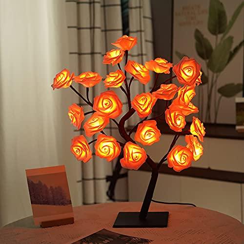 Rose Lamp Flower Tree Lamp met warm licht Kunstmatige LED Bonsai Tree Tafellamp Home Decor USB Touch Switch Nachtlampje Meisje Dames Kerst Verjaardagscadeau