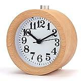 Facethoroughly Réveil en Bois, à la Main Petit Horloge Classique Ronde avec Veilleuse Lumière de Nuit Silencieux pour Bureau Maison Chambre
