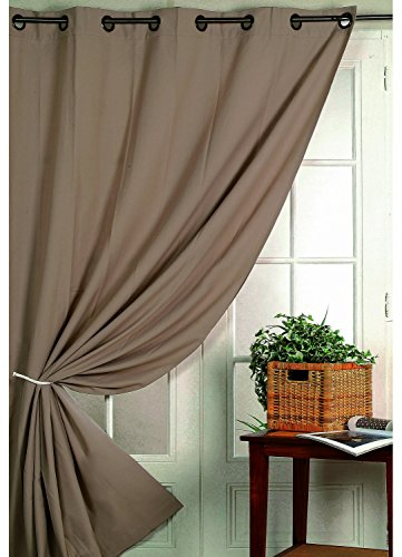 HomeMaison Rideau Isolant Thermique, Polyester, Taupe, 260x140 cm