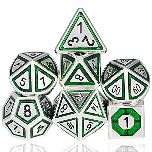 RULE DICE Metal DND Dice Set,Dungeons and Dragons Dice Set with Gifts Box for Role Playing Game,7PCS Polyhedral D&D Dice Set (Green Plated Silver)