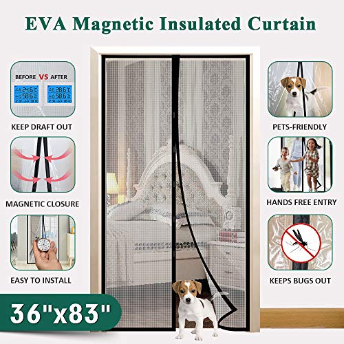 Insulated Door Curtain, IKSTAR EVA Magnetic Door for Exterior/Interior/Kitchen Doors, Keep Draft Air Out, Pets/Kids Walk Through Free, with Full Frame Loop&Hook, Hands Free Closure Size 36'x83'
