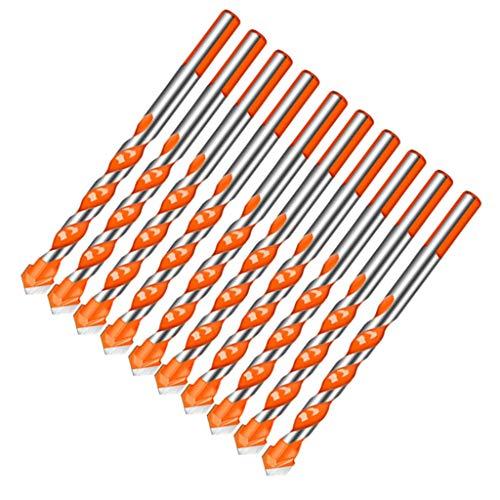 Bonarty Paquete de 10 Brocas Helicoidales Triangulares HSS, Brocas en Espiral de Vástago para Baldosas de Cerámica, Vidrio, Hormigón, Mármol, 4 Tamaños - 6mm