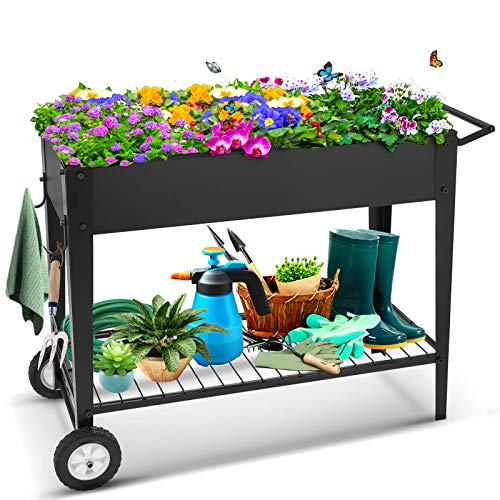 TOOCA Raised Garden Bed with Legs Outdoor Raised Planter Box on Wheels 40' L x 16' W x 31.5' H Elevated Garden Bed for Vegetable Flower Herb Patio
