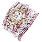 Moderne und legere analoge Quarz-Uhr für Damen, Wickelarmband mit Strass, von Winkey, mehrfarbig