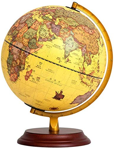 THj Illuminated Vintage Globes, 10 Inch Geographic World Globes Antique Decorative Desktop Globe Rotating Earth Globe Ornaments with Wooden Base