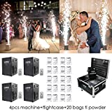 V-Show 400W Stage Special Effect Machine for Wedding Party Machine 4 Pack +20 Bags Ti Powder Controlled by DMX-512 or Remote, Use in Big Show,Banquet, Concert (with Flightcase)