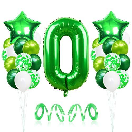 Bluelves Luftballon 0. Geburtstag, Folienballon Zahl 0 Grüne, Geburtstagsdeko Jungen 0 Jahr, Helium Riesen Zahlenballon 0, Deko zum Geburtstag für Kinder, Junge, Mädchen