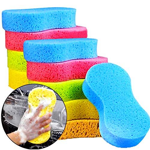 Faxco 10 Pcs Car Wash Sponges, Car Cleaning Large Sponges, Washing Car Sponge Pads, Colorful Soft Wash Sponge Pads