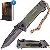 Spring Assisted Knife - Pocket Folding Knife - Military Style - Boy Scouts Knife - Tactical Knife - Good for Camping Hunting Survival Indoor and Outdoor Activities Mens Gift 6681 (Dark Green)