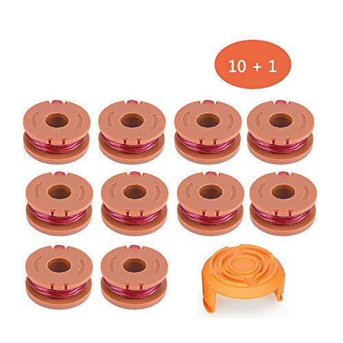 Ersatz Grass String 10-Fuß-Rasentrimmer Spool Line für Worx WA0010, Akku-Trimmer Edger Ersatz für WG150 WG166 WG155 WG175 WG160 (Red, 10 Pcs/Set + Cap Cover)