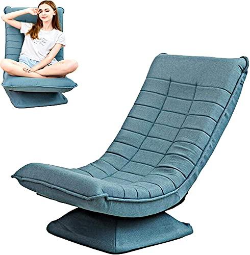 ZQQFR Sedia da pavimento pieghevole con schienale girevole a 360°, 5 velocità, schienale regolabile per casa, lettura, gioco, tempo libero, divano portatile