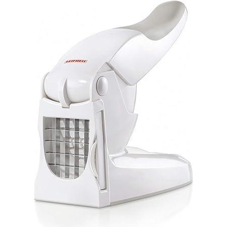 Leifheit Coupe-Frites, Découpage des pommes de terre grâce à deux lames de coupe, coupe légumes antidérapant pour faire des bâtonnets de 10mm ou 12 mm