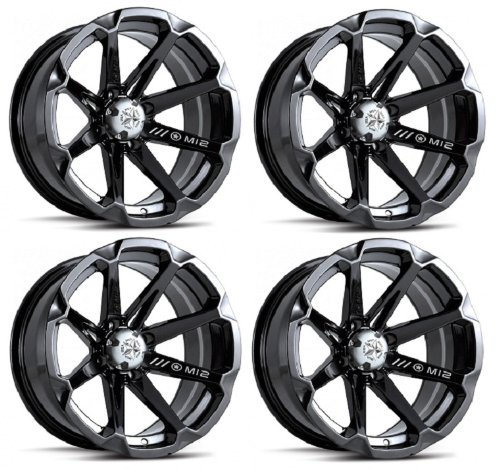 MSA M12 Diesel ATV Wheels/Rims Black 14' Honda Foreman Rancher SRA