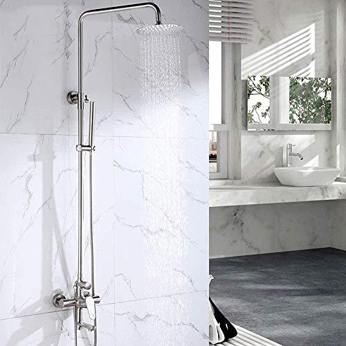 Juego de ducha de acero inoxidable 304, cabezal de ducha, válvula mezcladora fría y caliente, grifo de refuerzo, ducha
