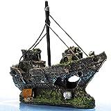 ADFBL Resina Pesca Barco Acuario Ornamento Plástico Decoración Planta Para Pecera Accesorios Decoración