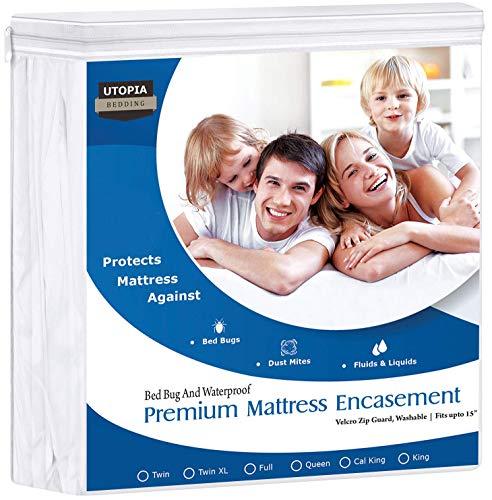Utopia Bedding Premium 135 GSM Waterproof Mattress Encasement, 360° Protection, Zippered, Bed Bug Proof, Fits 15 Inches Deep, Easy Care (Queen)