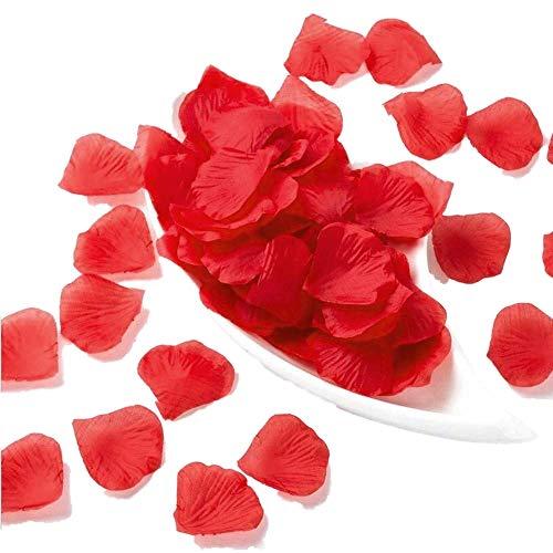 JZK 1000 pcs Rouge Artificielle Soie pétales de Rose pour Arts Artisanat, pour Mariage confettis, décoration pour Saint Valentin, mariée Douche Nuptiale ou fiançailles, Romantique événement (Rouge)
