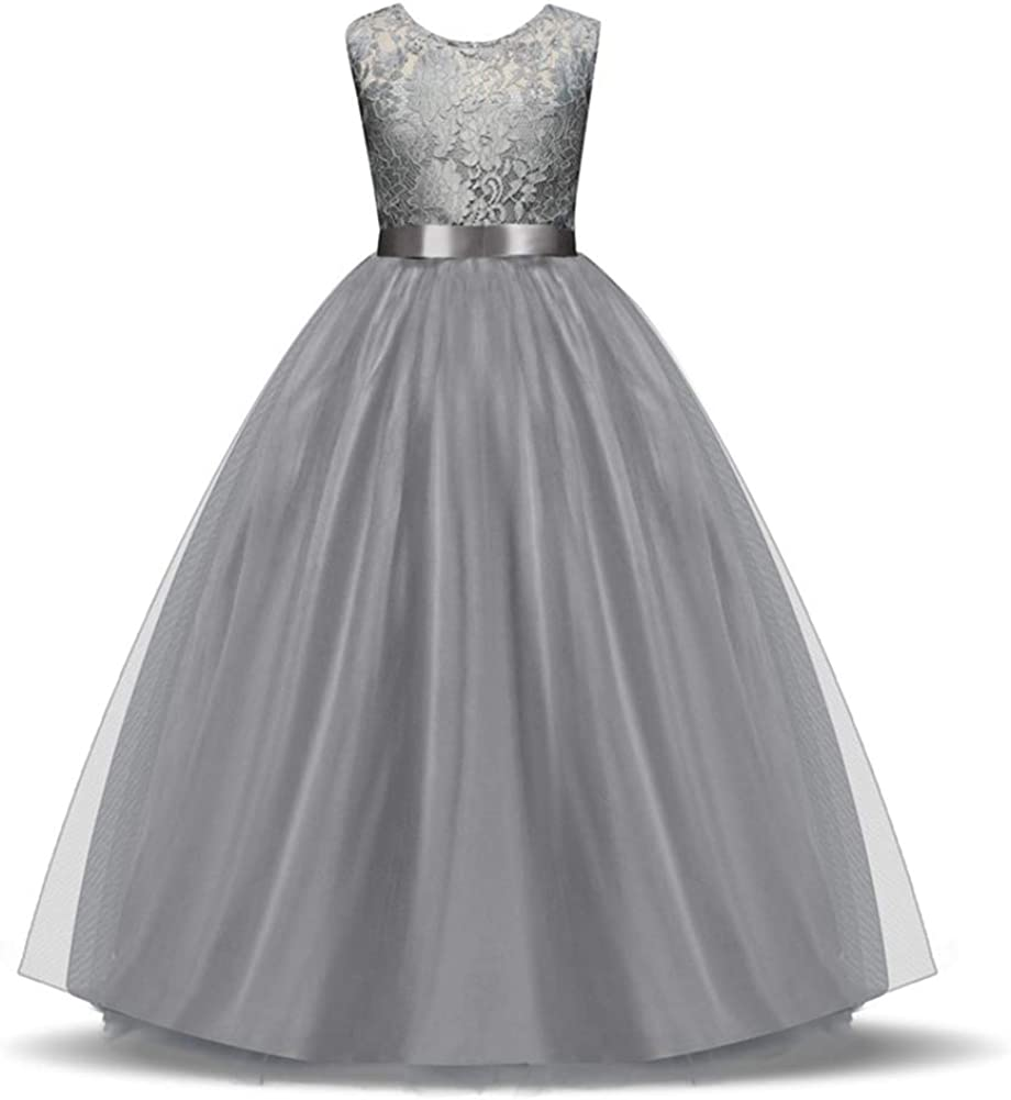 Girls Lace Dress Long A Line Wedding Dr Max 79% sale OFF Prom Pageant Party Tulle