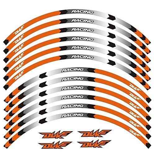 12 PCS/SET FIT MOTORCYCLE WHEUW ETIQUETA RAYA REMILLA RAZÓN REFLEADA PARA for DUKE 125 250 390 790 1290 (Color : Orange)