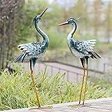 CHISHEEN Garden Crane Statues Outdoor Sculptures, Metal Yard Art Heron Statues...
