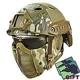 YOROOW Paintball Schutzhelm Camo Gesicht Airsoft Schneller Helm mit Stahlgitter Maske und Goggle-Satz, PUBG Cosplay CS Game Gear für Dschungel-Jagd-Moto,Cp