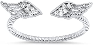 Angel Wings White CZ Cute Ring New .925 Sterling Silver Bali Band Sizes 3-10