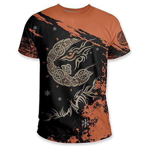 Camiseta de Fenrir de la Mitología Nórdica, T Shirt de Manga Corta con Estampado 3D de Lobo Celta Vikingo, Parte Superior del Símbolo de la Runa del Cuerno de Odin Nórdico,4XL