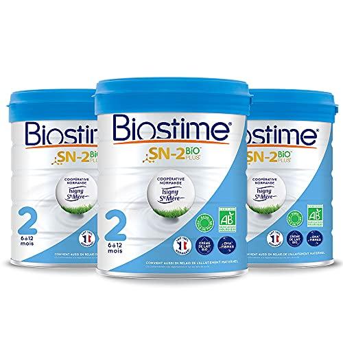 Biostime SN-2 Bio Plus - Lot de 3 Laits infantiles Bio 2ème âge en poudre de 6 à 12 mois (800g)